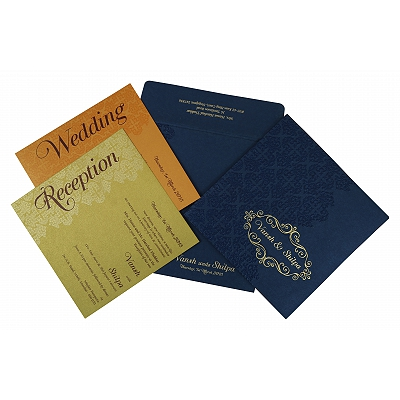 Blue Shimmery Box Themed - Foil Stamped Wedding Invitation : AI-1796 - A2zWeddingCards
