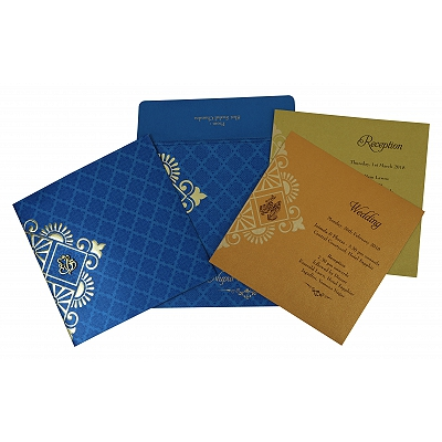 Blue Shimmery Box Themed - Screen Printed Wedding Invitation : AIN-1795