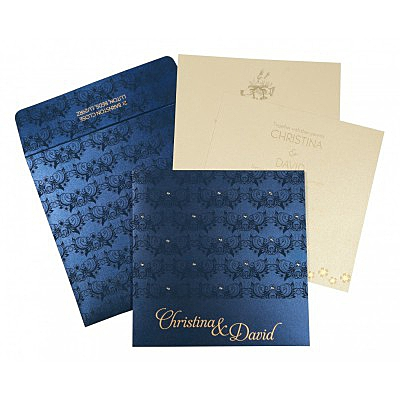 Blue Shimmery Butterfly Themed - Screen Printed Wedding Card : AD-8258A - IndianWeddingCards