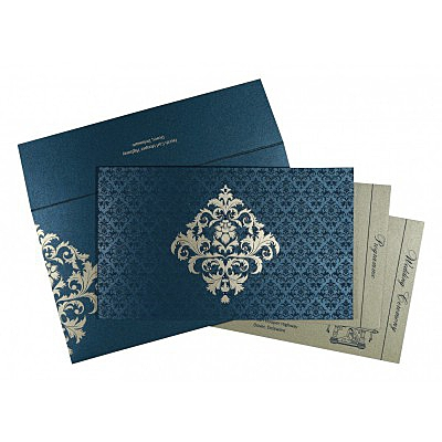 Blue Shimmery Damask Themed - Screen Printed Wedding Card : AD-8257G - IndianWeddingCards