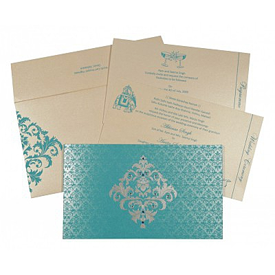 Blue Shimmery Damask Themed - Screen Printed Wedding Card : AG-8257E - IndianWeddingCards