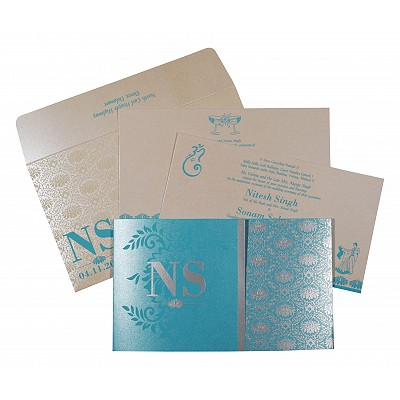 Blue Shimmery Damask Themed - Screen Printed Wedding Invitation : AI-8261E - IndianWeddingCards