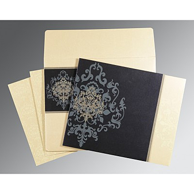 Blue Shimmery Damask Themed - Screen Printed Wedding Card : AW-8253D - IndianWeddingCards