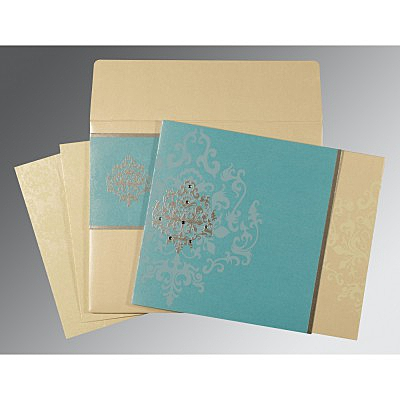 Blue Shimmery Damask Themed - Screen Printed Wedding Card : AW-8253E - IndianWeddingCards