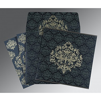 Blue Shimmery Damask Themed - Screen Printed Wedding Card : AW-8254C - IndianWeddingCards