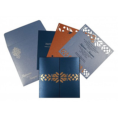 Blue Shimmery Embossed Wedding Invitation : AI-8260D - IndianWeddingCards