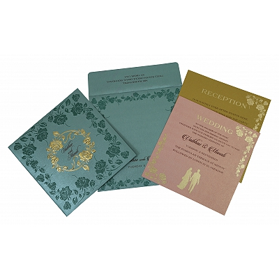 Blue Shimmery Floral Themed - Foil Stamped Wedding Invitation : AI-1794 - A2zWeddingCards