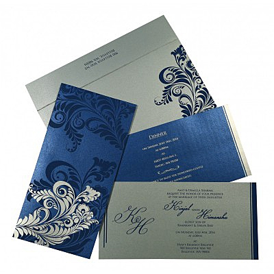 Blue Shimmery Floral Themed - Screen Printed Wedding Card : AG-8259E - IndianWeddingCards