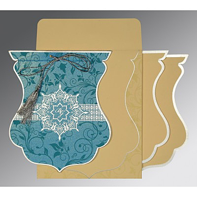 Blue Shimmery Floral Themed - Screen Printed Wedding Card : AI-8229M - IndianWeddingCards