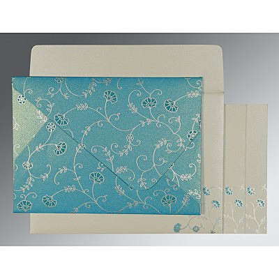 Blue Shimmery Floral Themed - Screen Printed Wedding Invitation : ARU-8248F - IndianWeddingCards