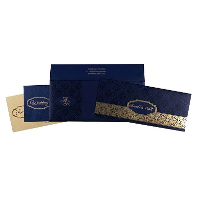 Blue Shimmery Foil Stamped Wedding Invitations : AS-1718 - A2zWeddingCards