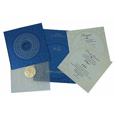 Blue Shimmery Laser Cut Wedding Invitation : AI-1779 - A2zWeddingCards