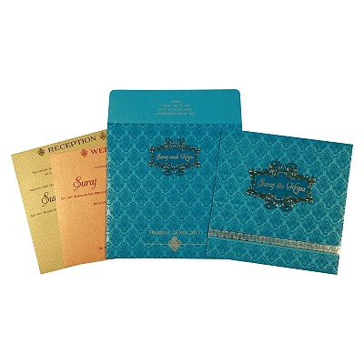 Blue Shimmery Paisley Themed - Foil Stamped Wedding Invitations : AW-1729 - A2zWeddingCards