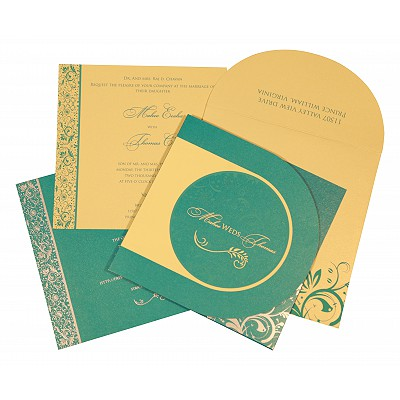 Blue Shimmery Paisley Themed - Screen Printed Wedding Card : AS-8264C - IndianWeddingCards