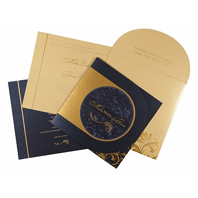 Blue Shimmery Paisley Themed - Screen Printed Wedding Card : AS-8264F - IndianWeddingCards