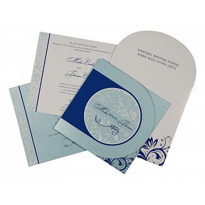 Blue Shimmery Paisley Themed - Screen Printed Wedding Card : ASO-8264H - IndianWeddingCards