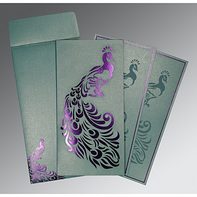 Blue Shimmery Peacock Themed - Laser Cut Wedding Invitations : AI-8255E - A2zWeddingCards