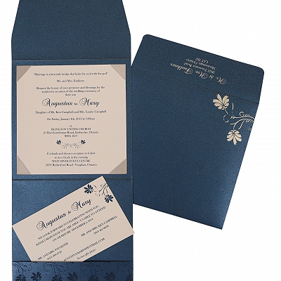 Blue Shimmery Screen Printed Wedding Invitations : AS-803D - A2zWeddingCards