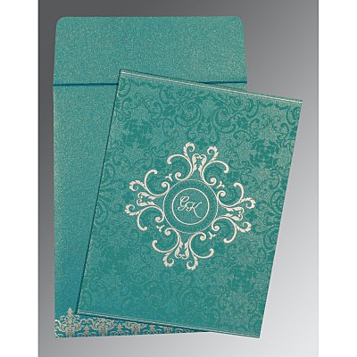 Blue Shimmery Screen Printed Wedding Card : ASO-8244C - IndianWeddingCards