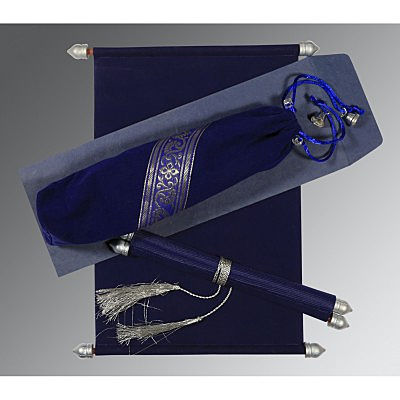 Blue Velvet Wedding Invitation : ASC-5004C - IndianWeddingCards