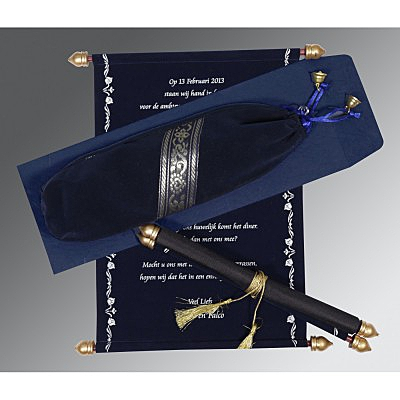 Blue Velvet Wedding Invitation : ASC-5004F - IndianWeddingCards