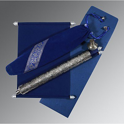 Blue Velvet Wedding Card : ASC-5005A - IndianWeddingCards