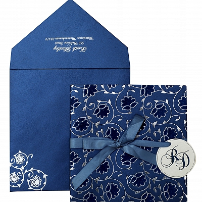 Blue White Shimmery Floral Themed - Foil Stamped Wedding Invitation : AIN-839