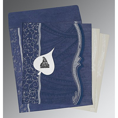 Blue Wooly Embossed Wedding Card : AG-8210H - IndianWeddingCards