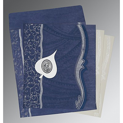 Blue Wooly Embossed Wedding Card : AI-8210H - IndianWeddingCards