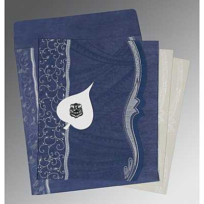Blue Wooly Embossed Wedding Card : AIN-8210H - IndianWeddingCards
