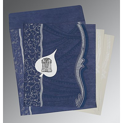 Blue Wooly Embossed Wedding Card : ASO-8210H - IndianWeddingCards