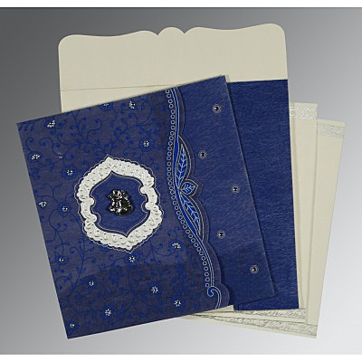 Blue Wooly Floral Themed - Embossed Wedding Card : AC-8209J - IndianWeddingCards