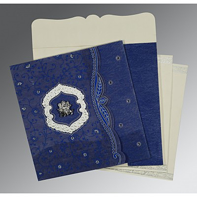 Blue Wooly Floral Themed - Embossed Wedding Card : AG-8209J - IndianWeddingCards