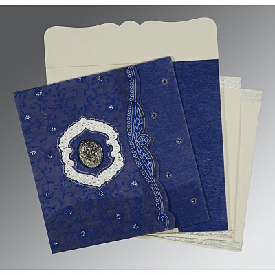 Blue Wooly Floral Themed - Embossed Wedding Card : AI-8209J - IndianWeddingCards