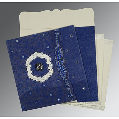 Blue Wooly Floral Themed - Embossed Wedding Card : AIN-8209J - IndianWeddingCards