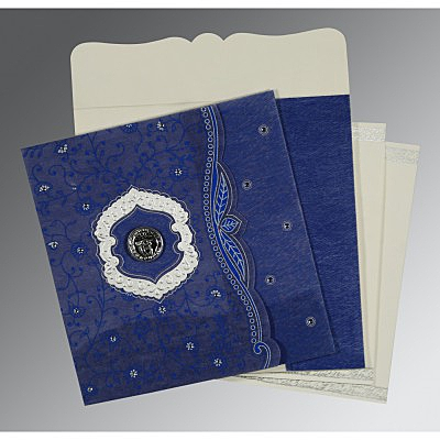 Blue Wooly Floral Themed - Embossed Wedding Card : ARU-8209J - IndianWeddingCards