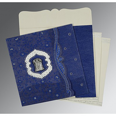 Blue Wooly Floral Themed - Embossed Wedding Card : ASO-8209J - IndianWeddingCards