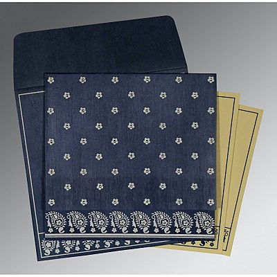 Blue Wooly Floral Themed - Screen Printed Wedding Card : AW-8218K - IndianWeddingCards