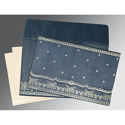 Blue Wooly Foil Stamped Wedding Invitation : AIN-8241P - IndianWeddingCards