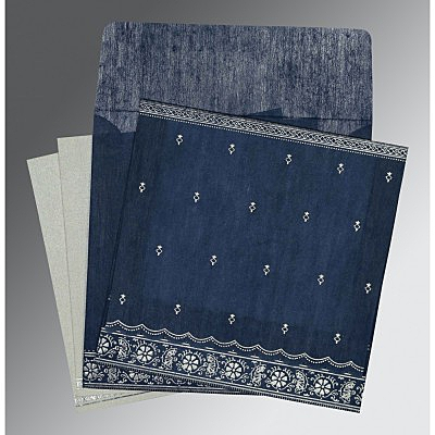 Blue Wooly Foil Stamped Wedding Card : AIN-8242J - IndianWeddingCards