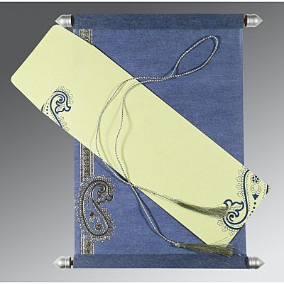 Blue Wooly Foil Stamped Wedding Card : ASC-5015A - IndianWeddingCards