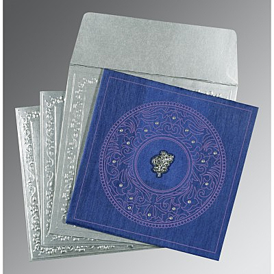 Blue Wooly Screen Printed Wedding Card : AC-8214Q - IndianWeddingCards