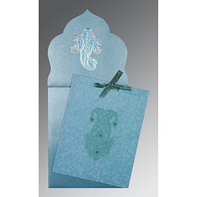 Blue Wooly Screen Printed Wedding Invitations : AI-1382 - A2zWeddingCards