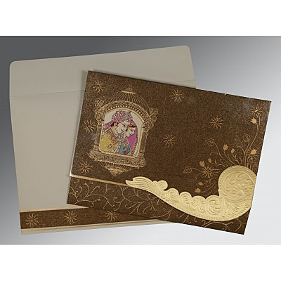 Brown Handmade Shimmer Embossed Wedding Invitations : AC-1405 - A2zWeddingCards