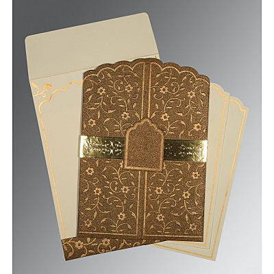 Brown Handmade Shimmer Floral Themed - Embossed Wedding Invitations : AD-1422 - A2zWeddingCards