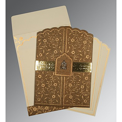 Brown Handmade Shimmer Floral Themed - Embossed Wedding Invitation : AIN-1422