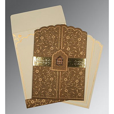 Brown Handmade Shimmer Floral Themed - Embossed Wedding Invitations : AS-1422 - A2zWeddingCards