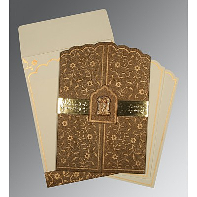 Brown Handmade Shimmer Floral Themed - Embossed Wedding Invitation : ASO-1422 - A2zWeddingCards