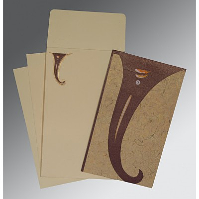 Brown Handmade Shimmer Unique Themed - Embossed Wedding Invitation : AIN-2275 - A2zWeddingCards