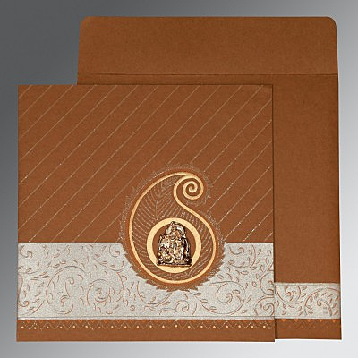 Brown Matte Embossed Wedding Invitations : AG-1178 - A2zWeddingCards
